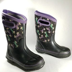 BOGS Black Unicorn Print Classic Winter Boots